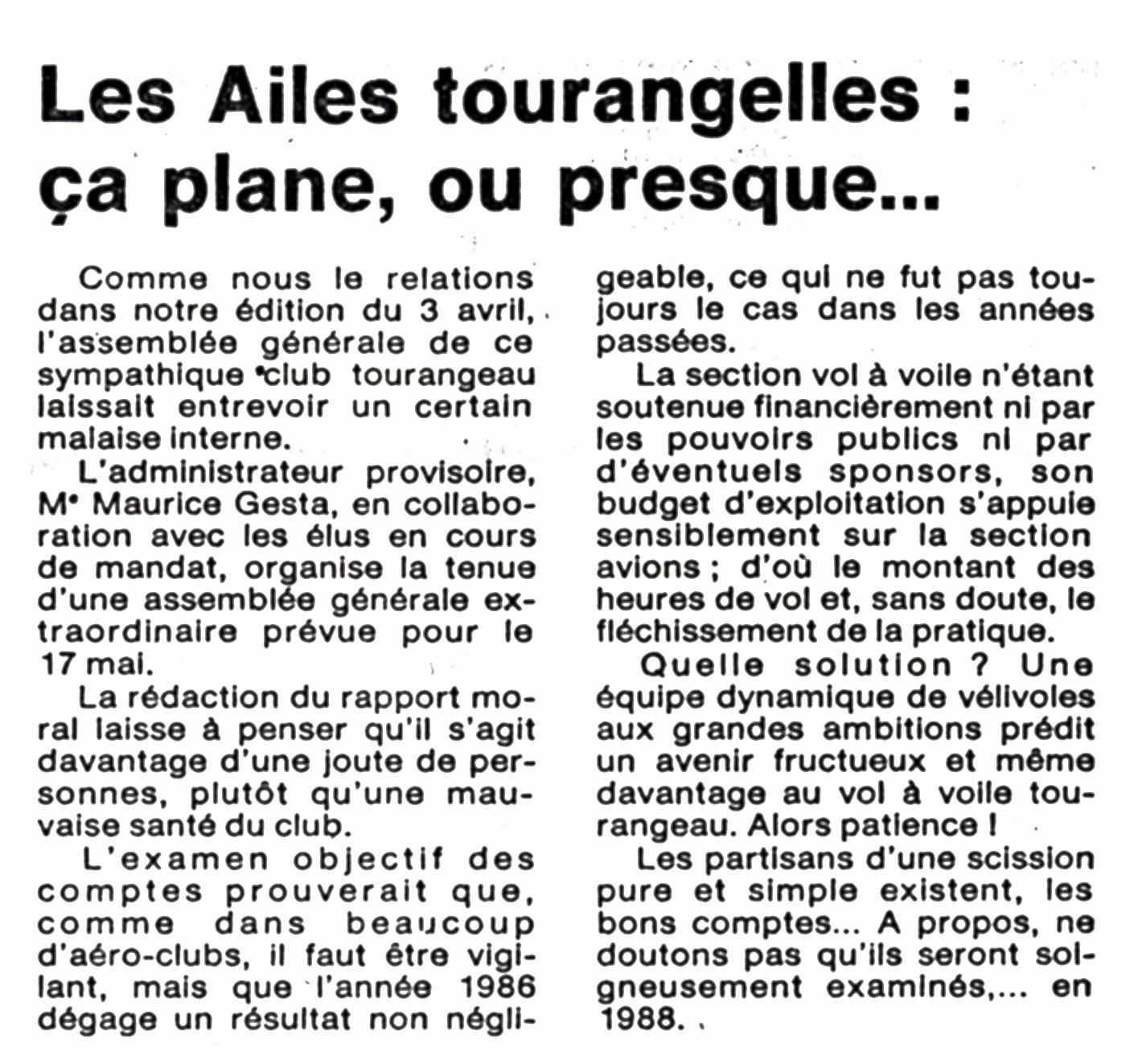 Article de la Nouvelle République du 12 mai 1987